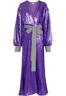 Natasha Zinko Sequin Embellished Maxi Robe Dress - Roxo