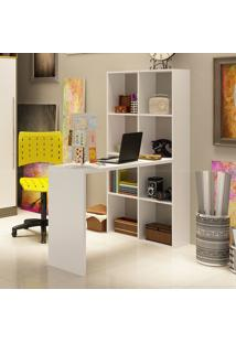 Estante Biblioteca Com Escrivaninha/Mesa Para Computador Be38 Branco - Brv Móveis