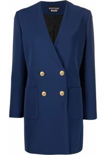 Boutique Moschino Blazer Longo Com Abotoamento Duplo - Azul