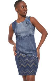 Vestido Desigual Curto Elda Azul