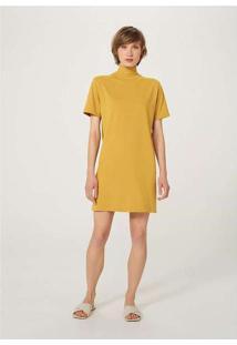 Vestido Básico Em Algodão Supima Gola Alta Amarelo