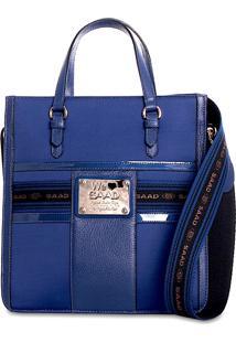 Bolsa Saad Tote Couro E Nylon Azul