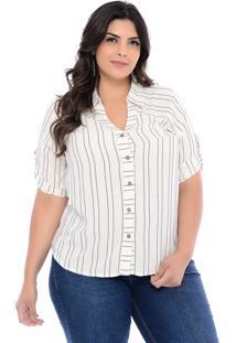 Blusa Plus Size Prelúdio Camisa Listras