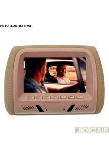 """Encosto De Cabeça Com Monitor - Importado - Bege - Sem Leitor De Dvd -Tela De 7"""" Lcd - Acabam.Tipo Couro - Cada (Unidade) - 72970"""