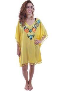 Saída De Praia Shopping Bali Com Flores E Tassel - Feminino-Amarelo
