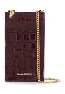 Alexander Mcqueen Porta-Cartões Com Efeito Pele De Crocodilo - Vermelho