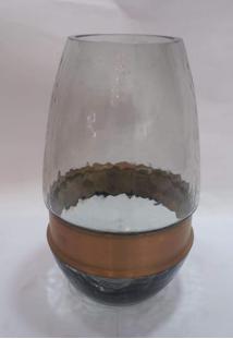 Vaso Vidro Fume C/ Faixa Metal Dourado