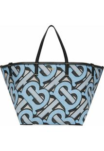 Burberry Bolsa Tote De Praia Mini De Canvas Com Estampa Monogramada - Azul