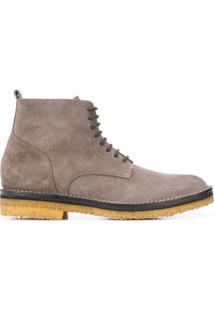 Buttero Ankle Boot Com Cadarço - Cinza