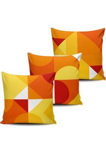 Kit 3 Capas Almofadas Formas Geometricas Amarela 45X45Cm - Multicolorido - Dafiti