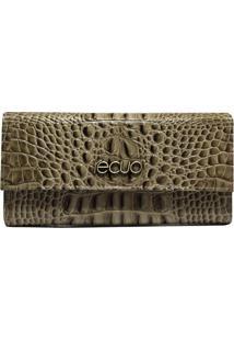 Carteira De Couro Recuo Fashion Bag Croco Bege/Cinza
