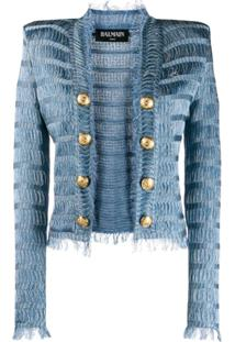 Balmain Jaqueta Texturizada Com Ombros Estruturados - Azul