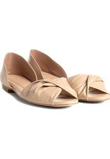 Sapatilha Couro Shoestock Aberta Com Drapeado Feminina - Feminino-Bege