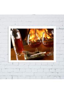 Quadro Decorativo Taça De Vinho Lareira Branco - Grande