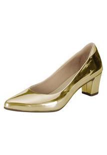 Scarpin Domidona Salto Baixo Dourado Metalizado