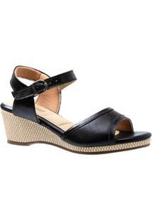 Sandália Doctor Shoes Anabela Couro Liso Feminina - Feminino-Preto