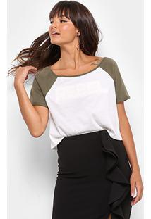 Camiseta Drezzup Estampa Eva Feminina - Feminino-Verde Militar+Branco