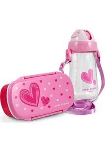 Conjunto Pote Para Lanche E Squeeze Infantil Menina Coração Jacki Design Pink