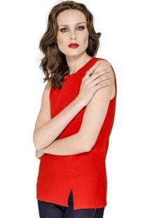 Regata Canelada Viviane Furrier - Feminino-Vermelho