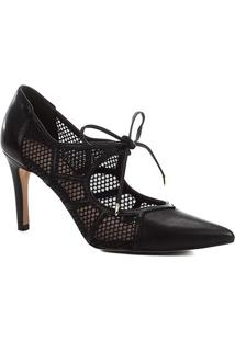 Scarpin Couro Shoestock Salto Alto Tela