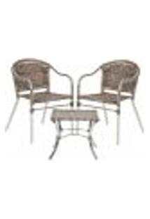 Jogo Cadeiras 2Un E Mesa De Centro Floripa Para Edicula Jardim Area Varanda Descanso - Argila