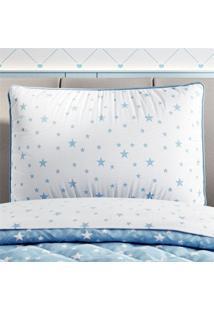 Capa Travesseiro Infantil Branco Estrelas Grão De Gente Azul