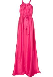 Lanvin Vestido Flare De Seda Cintura Marcada - Rosa