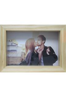 Porta Retrato Em Madeira Caixa Liso 10X15Cm Cerejeira