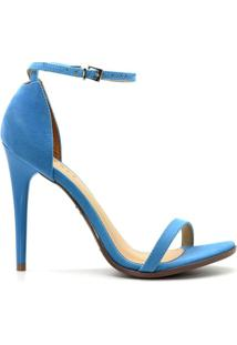 Sandália Royalz Nobuck Salto Alto Fino Tira - Feminino-Azul
