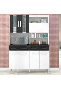 Cozinha Compacta 7 Portas E 4 Gavetas Melissa - Poquema - Branco / Preto