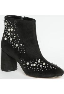 Ankle Boot Acamurã§Ada Com Aplicaã§Ãµes- Preta- Salto: Carmen Steffens