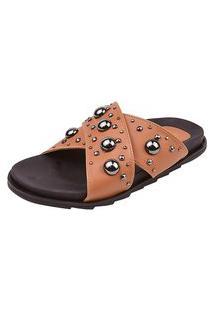 Birken Uzze Sapatos Aplicações Metálicas Caramelo