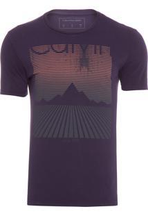 Camiseta Masculina Paisagem Listras - Roxo