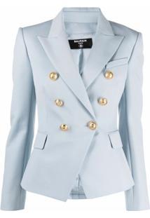 Balmain Blazer Com Lapelas E Abotoamento Duplo - Azul