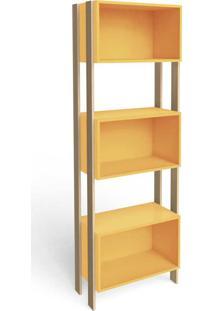 Estante Para Livros 3 Nichos Retrô Rt3093 Amarelo/Nature - Móvel Bento