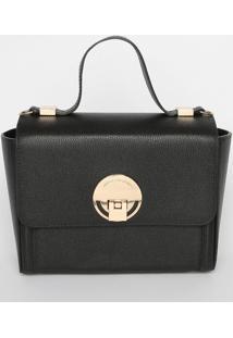 Bolsa Texturizada Em Couro - Preta & Dourada- 17X25Xjorge Bischoff