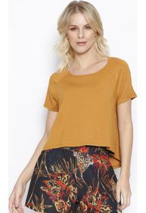 Camiseta Lisa Com Tag- Marrom Claro- Sommersommer