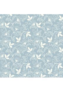 Papel De Parde Sunset Adesivos Floral Azul E Branco - Rolo 6,00 0,50 M