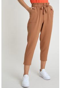 Calça Feminina Carrot Com Amarração Cintura Média Caramelo