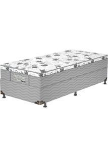 Cama Box Solteiro Firme Gray - Probel - Branco / Cinza