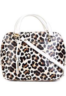 Bolsa Couro Jorge Bischoff Estruturada Alça De Mão E Transversal Leopardo Feminina - Feminino-Onça