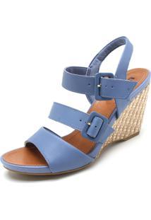 Sandália Couro Usaflex Fivelas Azul