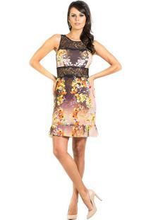 Vestido Detalhe Em Renda Estampado Floral Iódice Pp