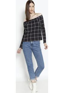 Blusa Ciganinha Com Elástico - Preta & Brancarovitex