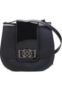 Bolsa Petite Jolie Flap Detalhe Verniz Alça Transversal Saddle Bag Feminina - Feminino-Preto