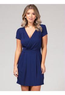 Vestido Azul Marinho Com Decote Transpassado