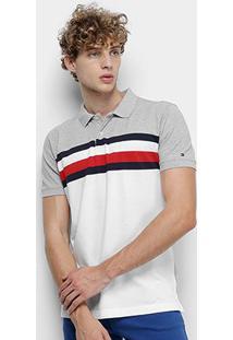 Camisa Polo Tommy Hilfiger Stripe Masculina - Masculino-Cinza+Branco