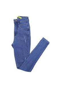 Calça Feminina Jeans Com Puidos Cintura Alta Skinny Novidade Azul