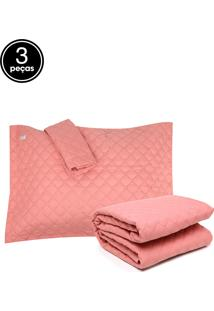 Kit 3Pçs Colcha King Altenburg Petit Poá Rosa