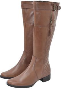 Bota Corazzi Leather Deluxe Montaria Matelassê Conhaque